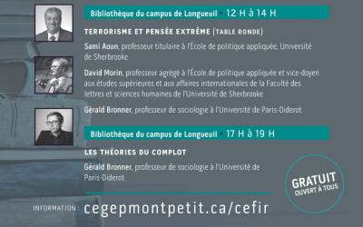 Conférences du CEFIR à la bibliothèque du campus de Longueuil