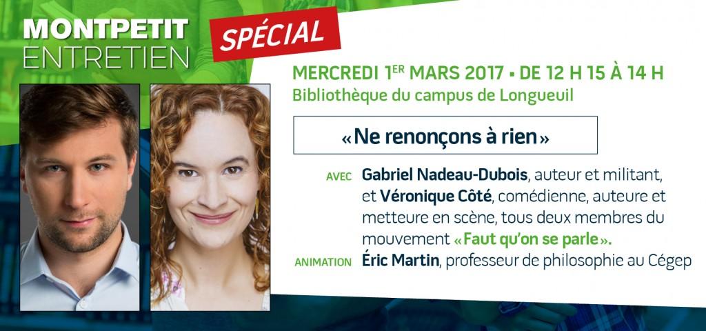 Gabriel Nadeau-Dubois et Véronique Côté à la bibliothèque du campus de Longueuil!